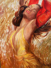 Woman in freedom in gold original painting .jpg