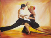 Tango dancers acrylic painting on canvas