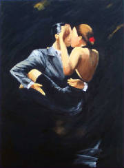 Tango Dancers in black dress acrylic painting on canvas