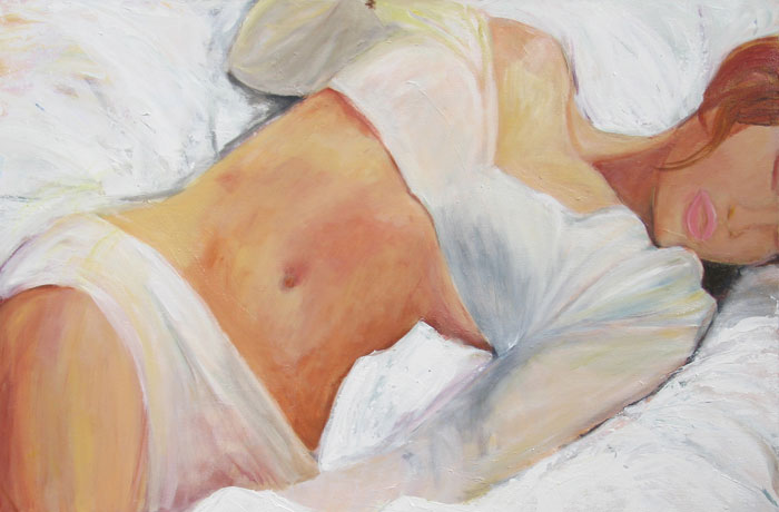 woman body in white sheet painting bedroom art