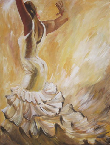 flamenco dancer in white dress acrylic painting on canvas-.jpg