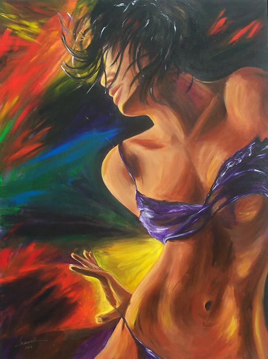 Woman in purple bikini acrylic painting on canvas called Secret