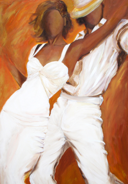 Tango dancers in white dress acrylic painting on canvas.jpg